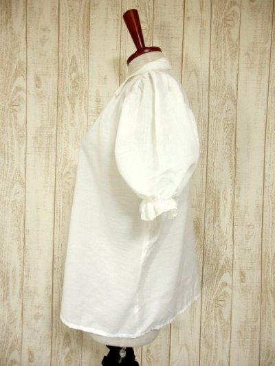 画像1: お花刺繍が素敵 ふんわりパフスリーブ 大人可愛い ヨーロッパ古着 半袖ヴィンテージスモックブラウス【4479】