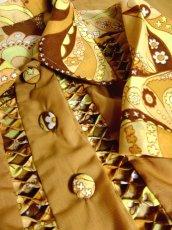 画像8: ヨーロッパ古着×ペイズリー調プリント×レトロポップなスカーフ柄×配色が最高×大人ヴィンテージワンピース×ベルト紐セット (8)