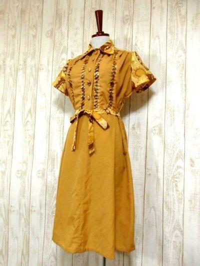 画像1: ヨーロッパ古着×ペイズリー調プリント×レトロポップなスカーフ柄×配色が最高×大人ヴィンテージワンピース×ベルト紐セット