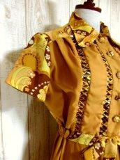 画像4: ヨーロッパ古着×ペイズリー調プリント×レトロポップなスカーフ柄×配色が最高×大人ヴィンテージワンピース×ベルト紐セット (4)