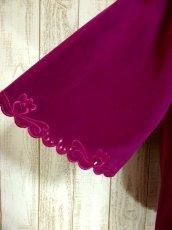 画像6: お花透かし編み刺繍レース 稀少パープルカラー ボリュームある袖も可愛い ヨーロッパ古着 ヴィンテージ刺繍ブラウス【4497】 (6)
