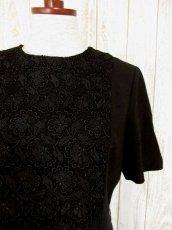 画像3: フラワー刺繍入りレース装飾!!大人レトロクラシカル♪上品な70'sヴィンテージドレス 黒 (3)