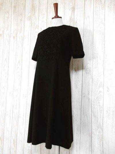 画像1: フラワー刺繍入りレース装飾!!大人レトロクラシカル♪上品な70'sヴィンテージドレス 黒