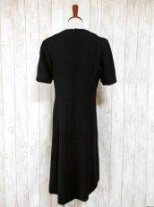 画像5: フラワー刺繍入りレース装飾!!大人レトロクラシカル♪上品な70'sヴィンテージドレス 黒 (5)