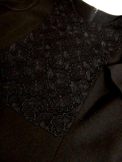画像3: フラワー刺繍入りレース装飾!!大人レトロクラシカル♪上品な70'sヴィンテージドレス 黒