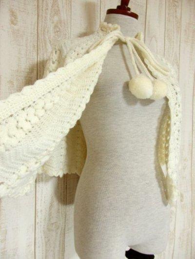 画像2: ☆ ぷっくりモコモコ編み模様♪ふわっと羽織ってばっちり可愛い〜!!首元リボン結び。オフホワイト×ガーリー レトロアンティークヴィンテージポンチョ ☆
