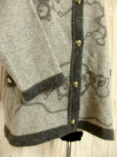 画像2: ☆ ヨーロッパ古着 素晴らしいチェーン×スカーフ柄〜♪上品で大人っぽいクラシカルなヴィンテージニットカーディガン ☆