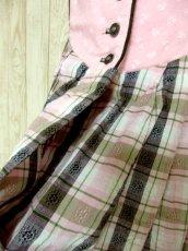画像6: PINK×チェック柄・小花柄切り替えしがとびっきり可愛い ディアンドル チロルワンピース ドイツ民族衣装 舞台 演奏会 フォークダンス オクトーバーフェスト 【4663】 (6)