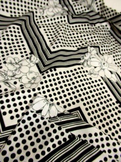 画像3: ☆  モノクロガーリーDot×ジグザグ柄×フラワー柄が可愛い♪ 70's ヴィンテージスカート ブラック×ホワイト ☆