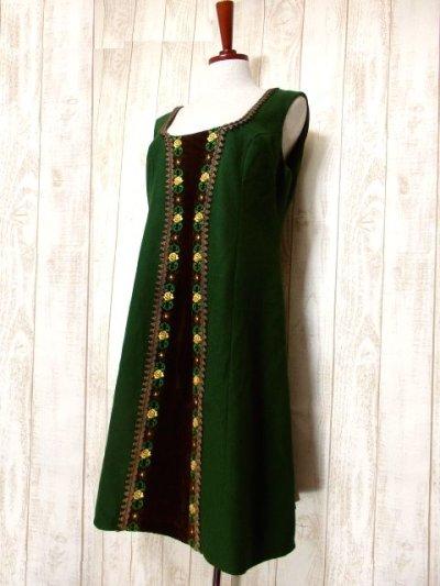 画像1: ヨーロッパ古着×ベロアフラワー刺繍×ブレード装飾×大人可愛いチロル調ヨーロピアンヴィンテージドレス