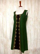 画像2: ヨーロッパ古着×ベロアフラワー刺繍×ブレード装飾×大人可愛いチロル調ヨーロピアンヴィンテージドレス (2)