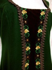 画像4: ヨーロッパ古着×ベロアフラワー刺繍×ブレード装飾×大人可愛いチロル調ヨーロピアンヴィンテージドレス (4)