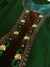 画像6: ヨーロッパ古着×ベロアフラワー刺繍×ブレード装飾×大人可愛いチロル調ヨーロピアンヴィンテージドレス (6)