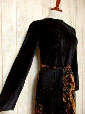 画像3: ベロア 花柄 ドット柄 西ドイツ製 ベルトリボンSET レトロ 長袖 ヨーロッパ古着 ヴィンテージドレス 【4855】 (3)