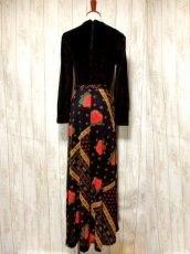 画像5: ベロア 花柄 ドット柄 西ドイツ製 ベルトリボンSET レトロ 長袖 ヨーロッパ古着 ヴィンテージドレス 【4855】 (5)