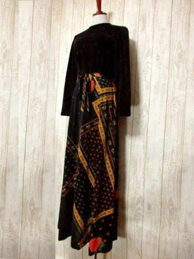 画像1: ベロア 花柄 ドット柄 西ドイツ製 ベルトリボンSET レトロ 長袖 ヨーロッパ古着 ヴィンテージドレス 【4855】