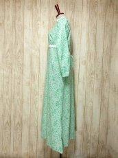 画像7: 花柄 レース装飾 バックウエストリボン レトロ 長袖 ヨーロッパ古着 ヴィンテージワンピースドレス 【4998】 (7)