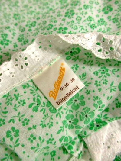 画像3: 花柄 レース装飾 バックウエストリボン レトロ 長袖 ヨーロッパ古着 ヴィンテージワンピースドレス 【4998】