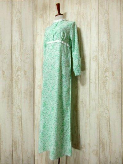 画像1: 花柄 レース装飾 バックウエストリボン レトロ 長袖 ヨーロッパ古着 ヴィンテージワンピースドレス 【4998】