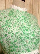 画像8: 花柄 レース装飾 バックウエストリボン レトロ 長袖 ヨーロッパ古着 ヴィンテージワンピースドレス 【4998】 (8)