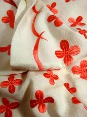 画像10: 70'sヴィンテージ!! 贅沢なぷっくりフラワー刺繍が素晴らしい♪ キレイなシルエットライン★ 大人レトロアンティークスタイル♪ヴィンテージドレス (10)