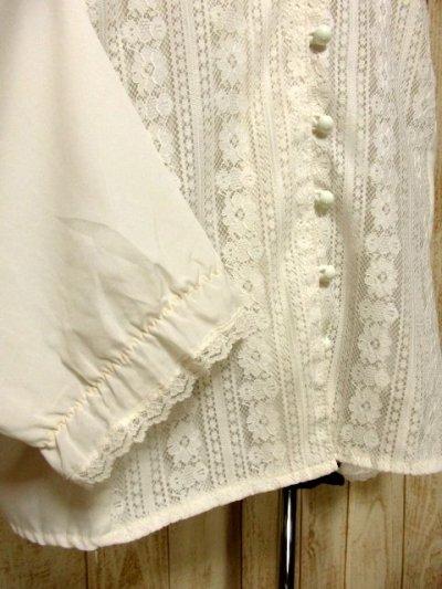 画像2: 贅沢なアンティークフラワーレース装飾 ふんわりボリューム袖デザイン ヨーロッパ古着 主役級ホワイトヴィンテージブラウス【5082】