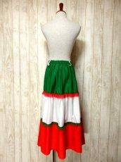 画像5: ☆ ヨーロッパ古着 トリコロールカラー×フラワーレース装飾♪ Green×Red×White ふんわりヨーロピアンヴィンテージスカート ☆ (5)