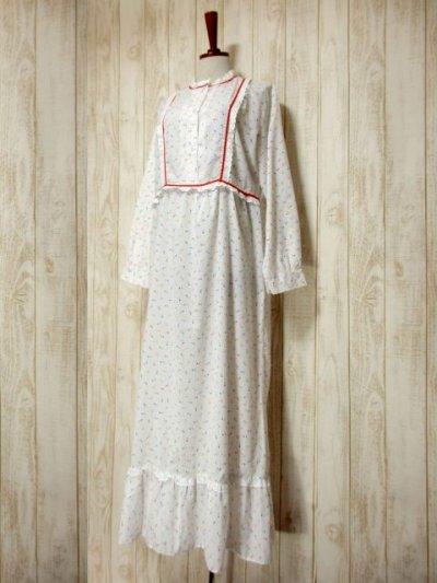 画像1: 木の実柄 ホワイト レース ふんわり レトロ 長袖 ヨーロッパ古着 ヴィンテージドレス 【5097】