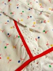 画像10: 木の実柄 ホワイト レース ふんわり レトロ 長袖 ヨーロッパ古着 ヴィンテージドレス 【5097】 (10)