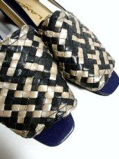 画像3: ヴィンテージパンプスサンダル 編み上げデザイン ブルー 約24cm【5111】 (3)