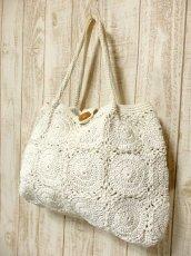 画像1: かぎ編みデザイン ホワイト カタチが可愛らしい ナチュラルガーリー レディース レトロ 鞄 バッグ【5116】 (1)