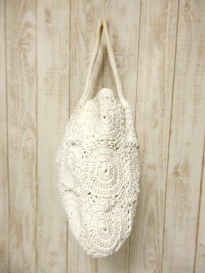 画像2: かぎ編みデザイン ホワイト カタチが可愛らしい ナチュラルガーリー レディース レトロ 鞄 バッグ【5116】
