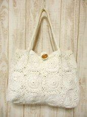 画像2: かぎ編みデザイン ホワイト カタチが可愛らしい ナチュラルガーリー レディース レトロ 鞄 バッグ【5116】 (2)