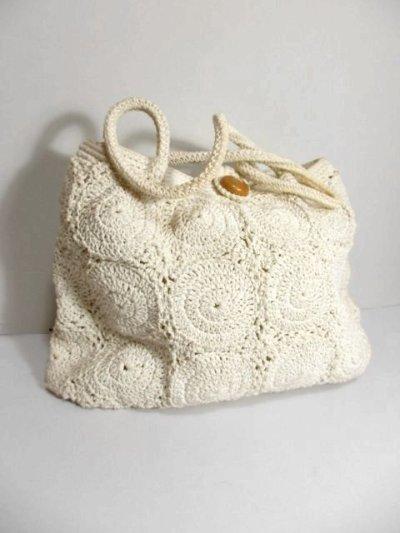 画像1: かぎ編みデザイン ホワイト カタチが可愛らしい ナチュラルガーリー レディース レトロ 鞄 バッグ【5116】