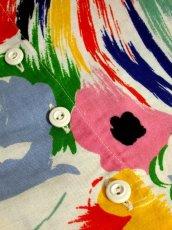 画像10: ヨーロッパ古着 イタリア製!! レトロポップフラワー×カラフルアートプリント♪ 大人ヴィンテージワンピース (10)
