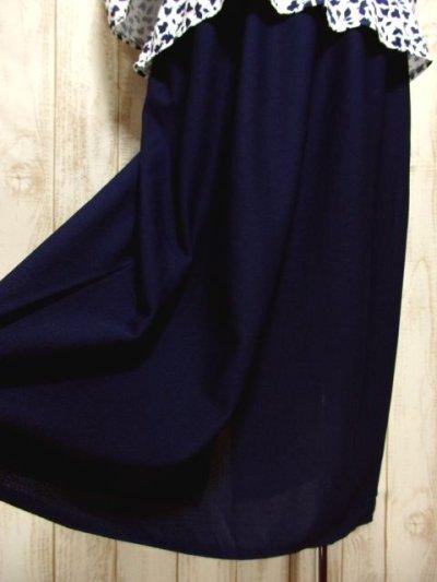 画像2: リーフ柄 ネイビー ホワイト ベルトSET レトロ 長袖 ヨーロッパ古着 ヴィンテージドレス 【5146】