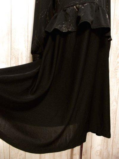 画像2: イギリス製 花柄 ウエストフリル切り替えし ブラック 長袖 レトロ 上品 ヨーロッパ古着 ヴィンテージドレス 【5181】