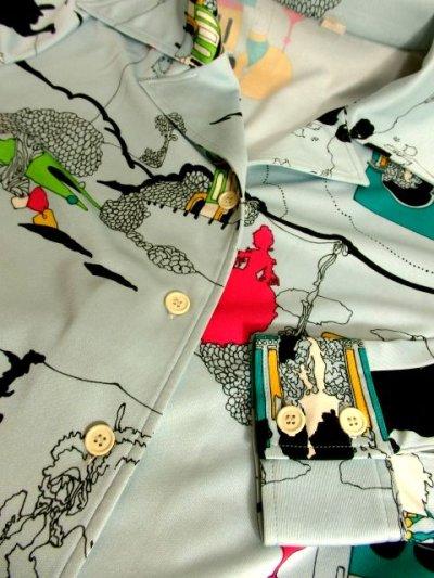 画像3: ☆ 70'sヴィンテージならではのデザイン×カラーリング♪ お城×人物×木々プリント!! レトロヴィンテージブラウス ☆