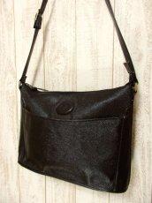 画像2: 大きめサイズ ブラック 本革レザー レディース レトロ ショルダー 鞄 バッグ【5210】 (2)