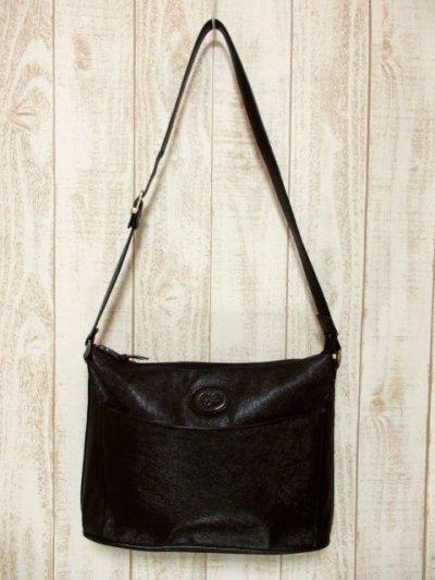 画像1: 大きめサイズ ブラック 本革レザー レディース レトロ ショルダー 鞄 バッグ【5210】