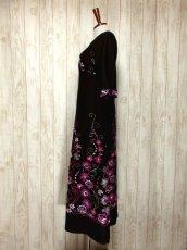 画像7: ヨーロッパ古着 贅沢なフラワー刺繍が素晴らし〜い!!綺麗なAライン☆華やか大人レトロアンティークスタイル♪刺繍入りクラシカルヴィンテージドレス (7)