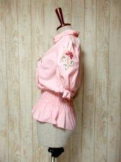 画像6: ぷっくりお花刺繍 Pinkカラー!!ステッチが可愛い 袖にも刺繍 ヨーロッパ古着 大人ガーリーなヴィンテージ刺繍スモックブラウス【5347】 (6)