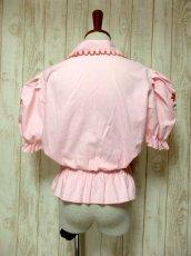 画像5: ぷっくりお花刺繍 Pinkカラー!!ステッチが可愛い 袖にも刺繍 ヨーロッパ古着 大人ガーリーなヴィンテージ刺繍スモックブラウス【5347】 (5)