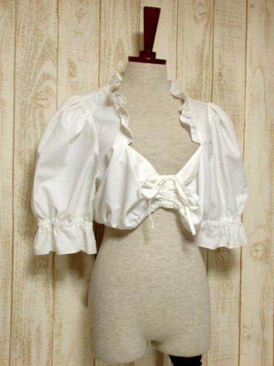 画像1: ショート丈 ホワイト フリルデザインが可愛い 胸元リボン ディアンドル ヴィンテージブラウス ドイツ民族衣装 舞台 演奏会 フォークダンス オクトーバーフェスト【5361】