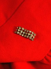 画像4: ヨーロッパ古着 ハッと目を引くレッドカラー×キラリと光るビジュー装飾がアクセント!! 大人ヨーロピアンヴィンテージドレス (4)