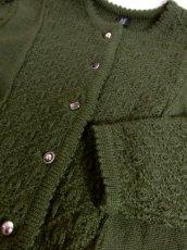 画像10: 濃いめのグリーン フォークロア レトロ ヨーロッパ古着 チロルニットカーディガン【5477】 (10)