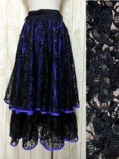画像1: 贅沢な総フラワーレース ティアードデザイン ブラック 上品 クラシカル レトロ ヨーロッパ古着 ヴィンテージスカート【5535】 (1)
