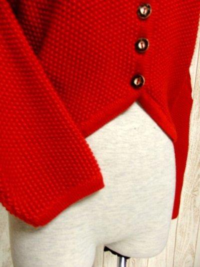 画像2: ☆ ヨーロッパ古着 袖にモコモコ編み模様×ふんわり袖が可愛らし〜い♪ 使い勝手が抜群!!★レトロガーリー チロルニットカーディガン ☆