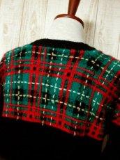 画像6: ☆ ヨーロッパ古着 チェック編み×クリスマスカラー♪ 大人レトロフォークロアstyleにもおすすめ♪ ニットカーディガン ☆ (6)