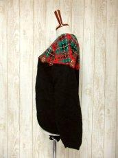 画像7: ☆ ヨーロッパ古着 チェック編み×クリスマスカラー♪ 大人レトロフォークロアstyleにもおすすめ♪ ニットカーディガン ☆ (7)
